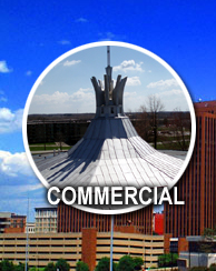 Commercial Roofs including Industrial, Retail, Churches, and Schools featuring flat roofs, metal roofs, rubber roofs, and commercial shingles